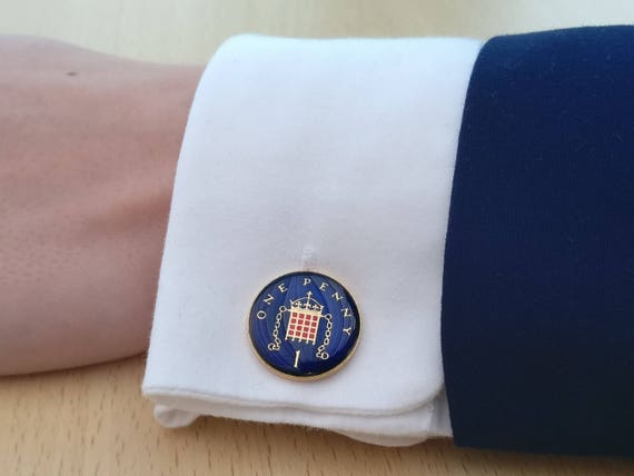 1989 One Penny Enamelled Coin Cufflinks