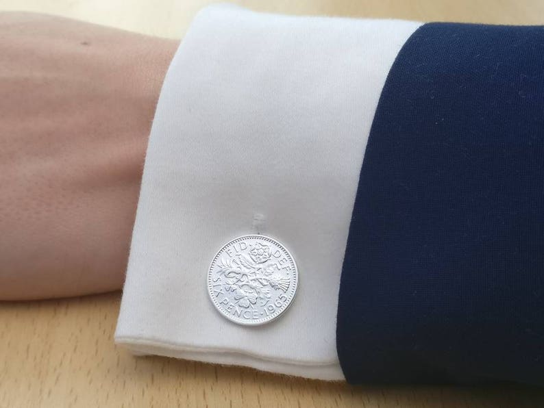 Silver Plated Coin Cufflinks 1965 Sixpence
