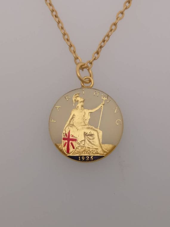 18in Gold Plated Sterling Silver ch 1952 67th Birthday Farthing Round Pendant