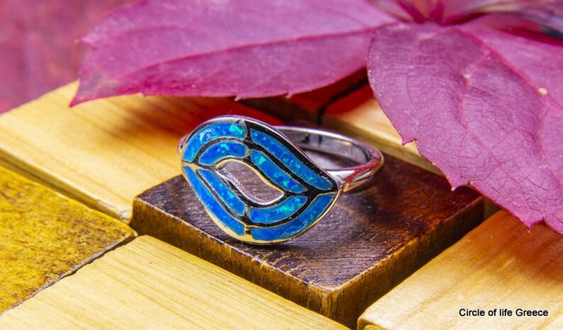 silver opal ring Opal leaf ring
