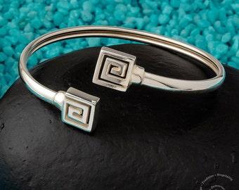 Square Meander Bangle Bracelet, Sterling Silver 925 Bracelet, Greek Key Bangle Bracelet, Ancient Greek Jewelry