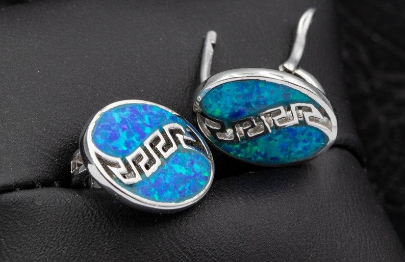 Greek opal earrings,Silver opal earrings,oval opal Earrings