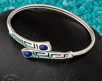 Meander Bangle Bracelet with Lapis or Turquoise stone, Sterling Silver 925 Bracelet, Greek Key Bangle Bracelet, Greek Jewelry