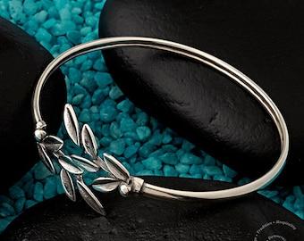 Olive Branch Sterling Silver Bangle Bracelet, Handmade Silver Bracelet, Greek Jewelry, Olive Branch Bracelet, Silber Olivenzweig