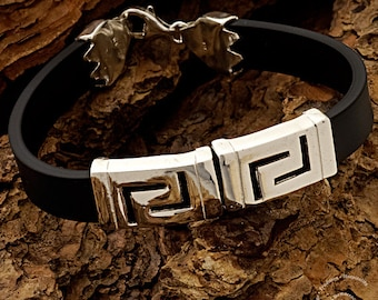 Meander Silver Bracelet with Black Rubber, Sterling Silver Bracelet, Greek Key Bracelet, Ancient Greek Jewelry