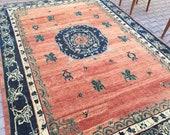 vintage rug 10.8 x7.8,feet,oushak rug,turkish rug,area rug.bohemian rug,turkısh carpet,handwoven rug,antique wool rug.floor rug,home decor
