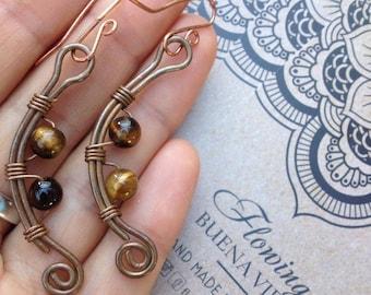 Eye Tiger Crystal Gemstone Copper Earrings Tribal Gypsy Boho Hippie handmade - Free Shipping All Australia