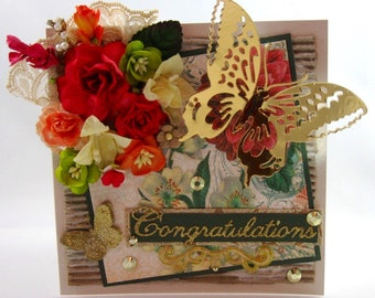 Beautiful Handmade Flower Greeting Card, Floral, Orange, Red, Green, Luxury, 3D, Embellished, Congratulations