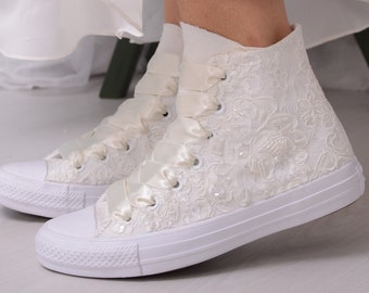 Luxury Ivory Wedding Converse For Bride With Lace, Custom Converse High Top Shoes For Bride, Bridal Sneakers with Dubai Lace