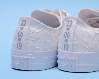 3e8d5ceffd49 Personalized Ivory Wedding Converse For Bride
