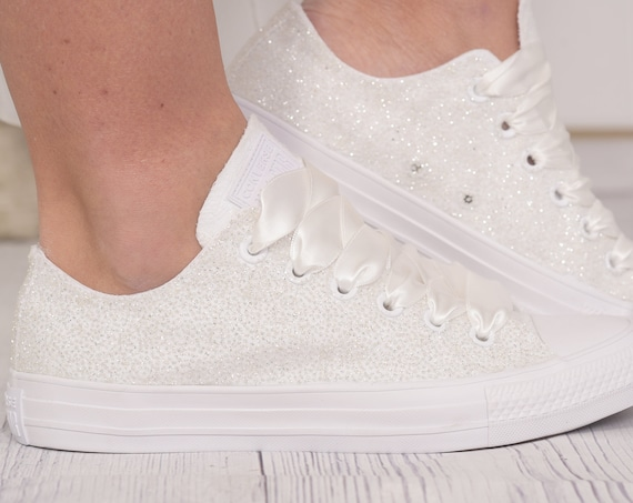 Ivory Gitter Converse Shoes For Bride