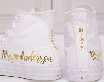 Personalized Wedding Converse For Bride, Silver Or Gold Foil Bridal Sneakers, Custom Converse Trainers Silver Mirror Foil