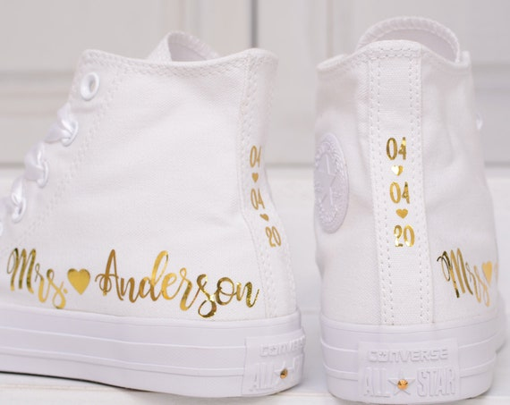 Personalized Foil Wedding Converse For Bride