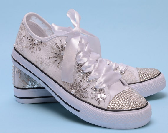 Wedding Sneakers For Bride, Custom bride Trainers, Sequin Bridal Ssneakers For Reception