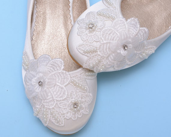 Lace Wedding shoes flats for wedding, Ivory flat shoes
