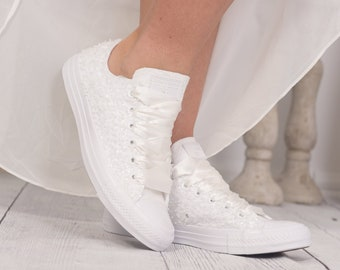 Luxury Ivory Bridal Converse Bride, Ivory Wedding Shoes For Bride, Ivory Trainers, Ivory Sneakers, Ivory Tennis Shoes