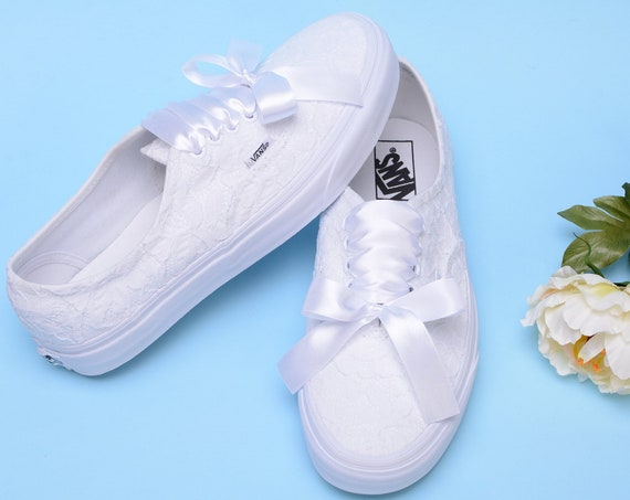 Wedding Lace Vans shoes for Bride, Custom White Bridal Sneakers For Reception