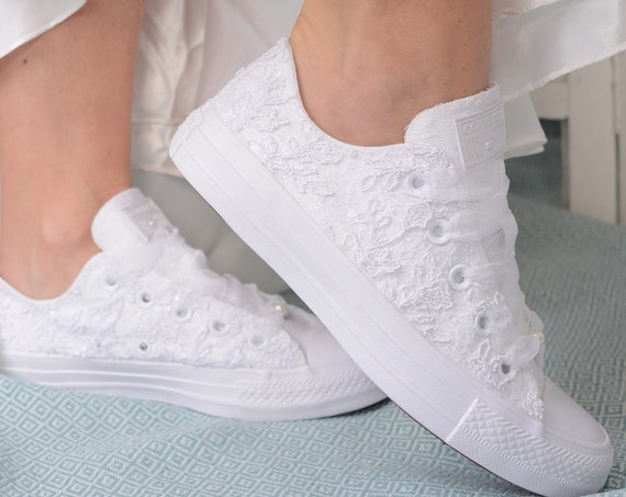 Luxury White Wedding Converse Low top, Awesome Converse Shoes, Lace  Converse For Bride