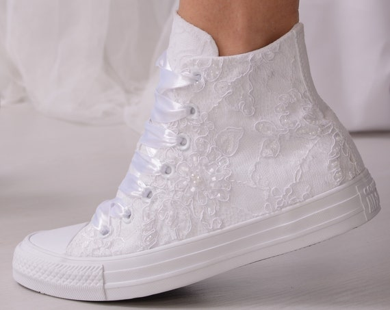 Luxury White Wedding Converse High Top, Awesome Converse Shoes, Lace High Top Converse For Bride