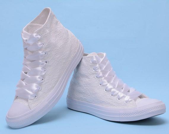 Custom Wedding Converse shoes High Top, Bridal Lace Converse high top