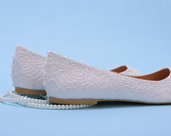 White Lace Flat For Wedding, Bridal Shoes with Pearls Covered With Lace