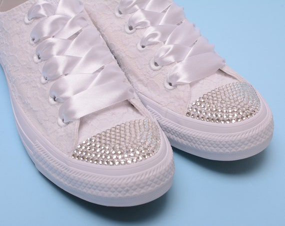 Rhinestone Converse shoes for bride, Bling Converse For Wedding