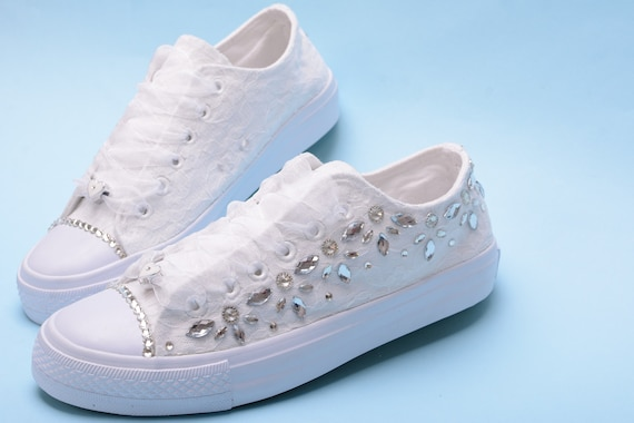 White wedding sneakers for bride, Blng Trainers For Bridesmaid