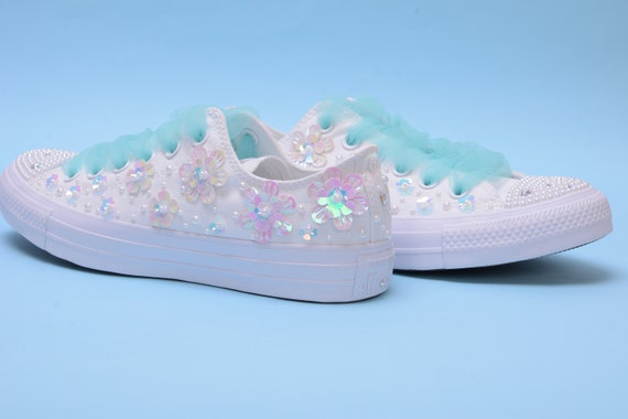 Sparkle Wedding Converse for Bride, Bling Converse with Pearls