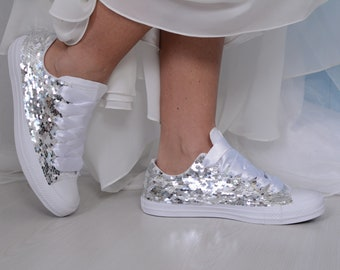 Silver Sequin Converse Trainers, White Sequin Converse Shoes For Bride, Sequin Sneakers, Sequin Tennis Shoes For Prom or Party