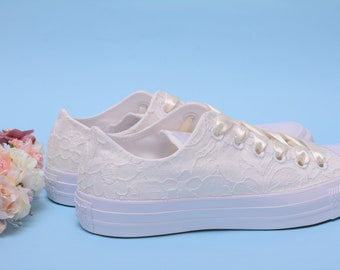 704bcd62064a Ivory Lace Wedding Converse For Bride