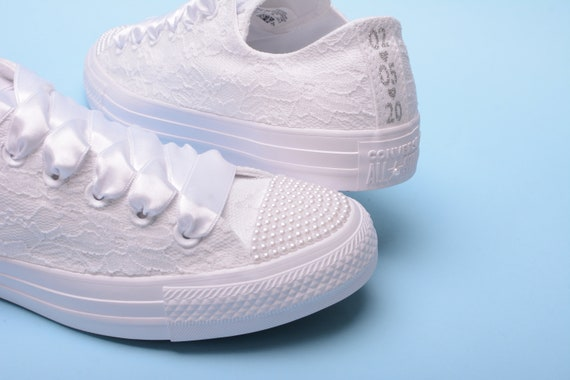 Pearl Wedding Converse for bride, White Converse trainers for wedding