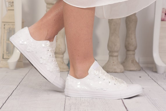 White Sequin Wedding Converse for Bride, White sequin Converse