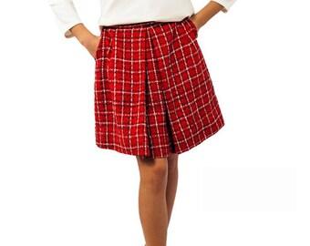 Red tartan skirt women, Red plaid skirt women, Midi skirt pleated plaid skirt with pockets,  Red tartan pleated skirt knee length for women