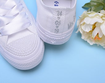 456f0d72aecf5c Personalized Converse shoes for Bride