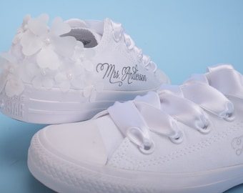 Personalized Wedding Converse Shoes For Bride, Personalised Bride Converse Trainers, Monogrammed Tennis shoes For Reception