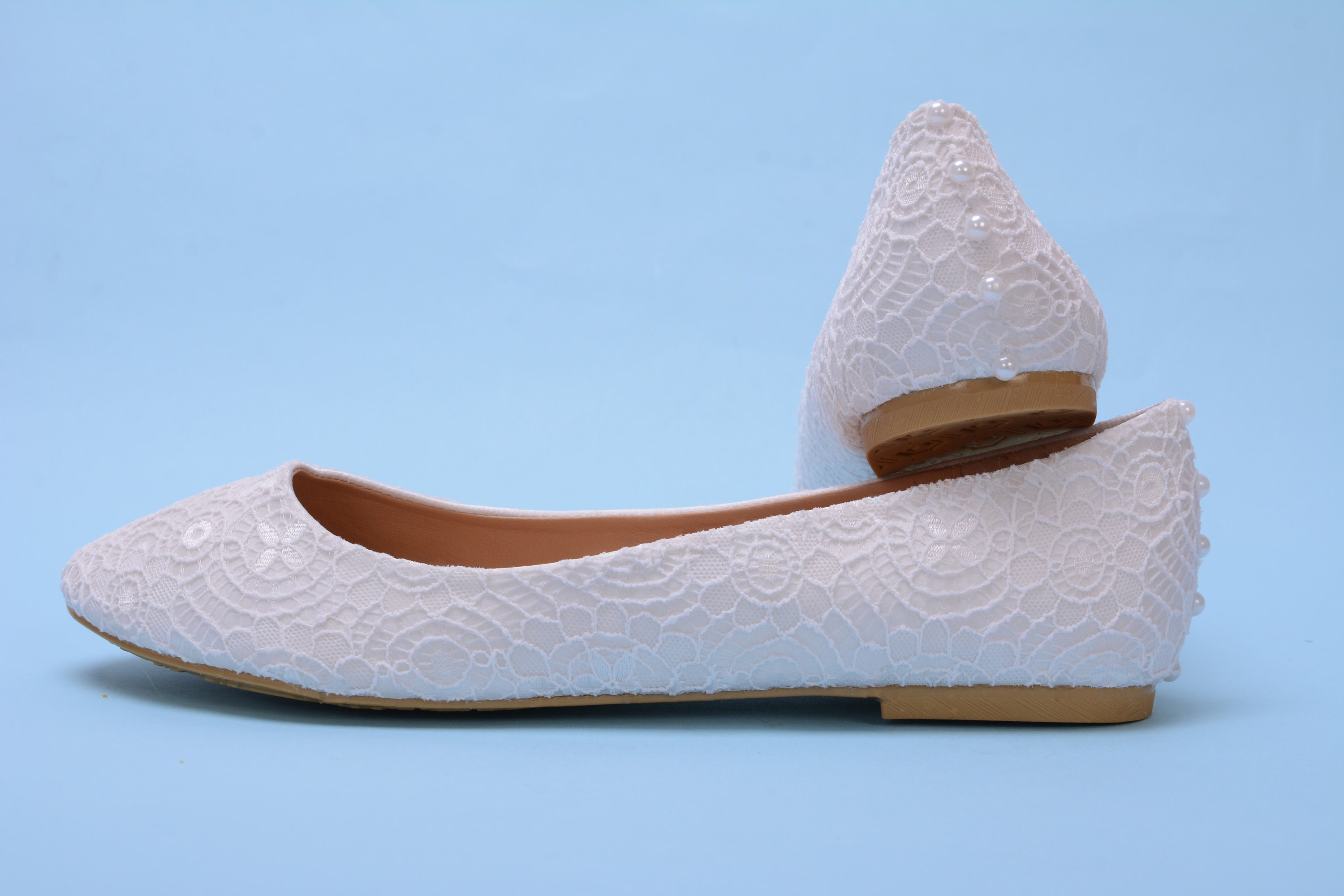 d2db1541e White Lace Flat Shoes For Bride