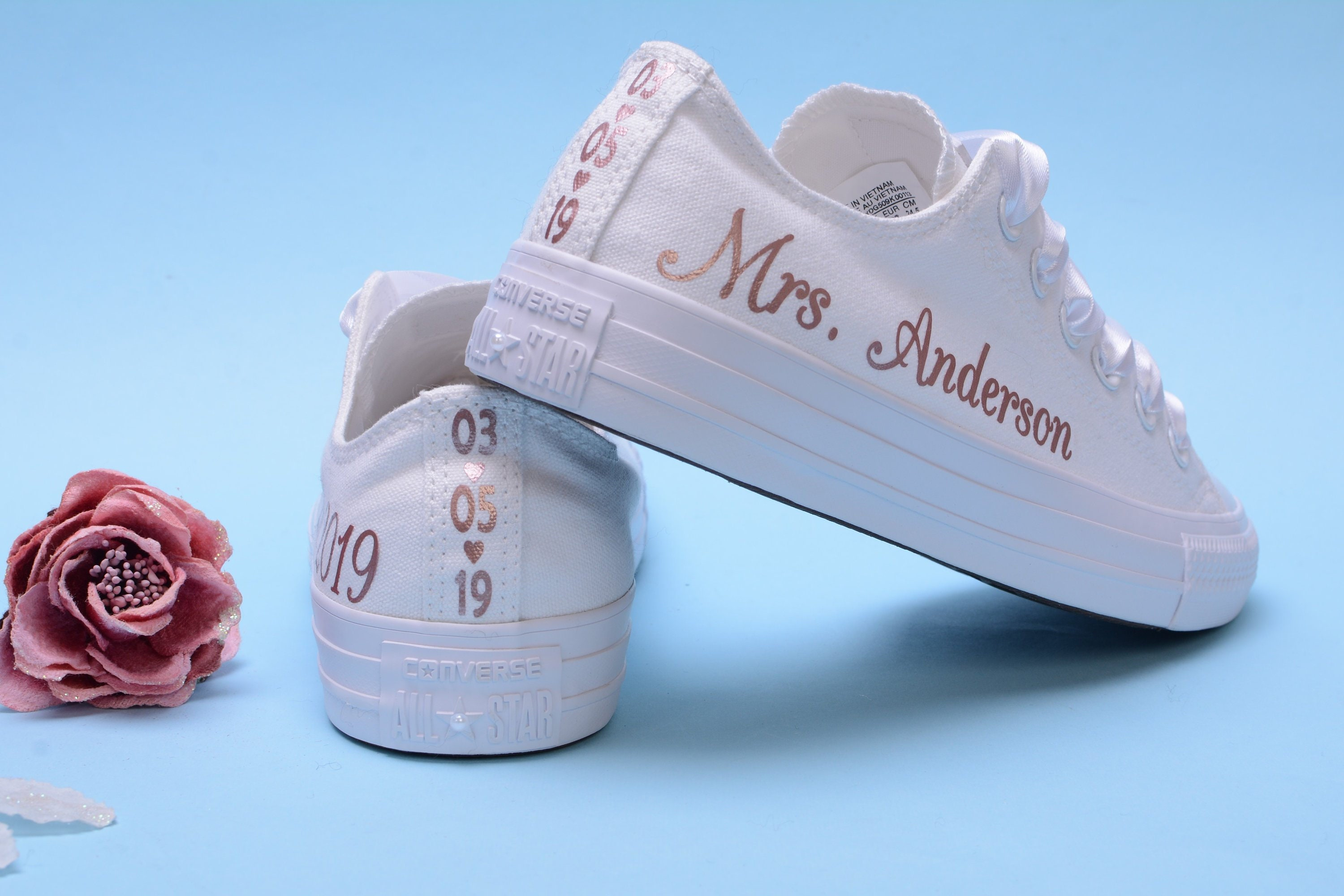 382fcbd09d01d2 Personalised Rose Gold Foil Converse Trainers For Bride