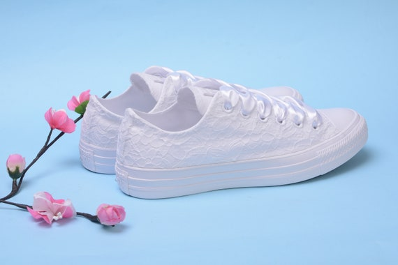 White Wedding Converse Low Top, Dentelle Bridal Converse For Bride, Custom  Converse Shoes For Reception, Bridesmaid Trainers, Wife Sneakers