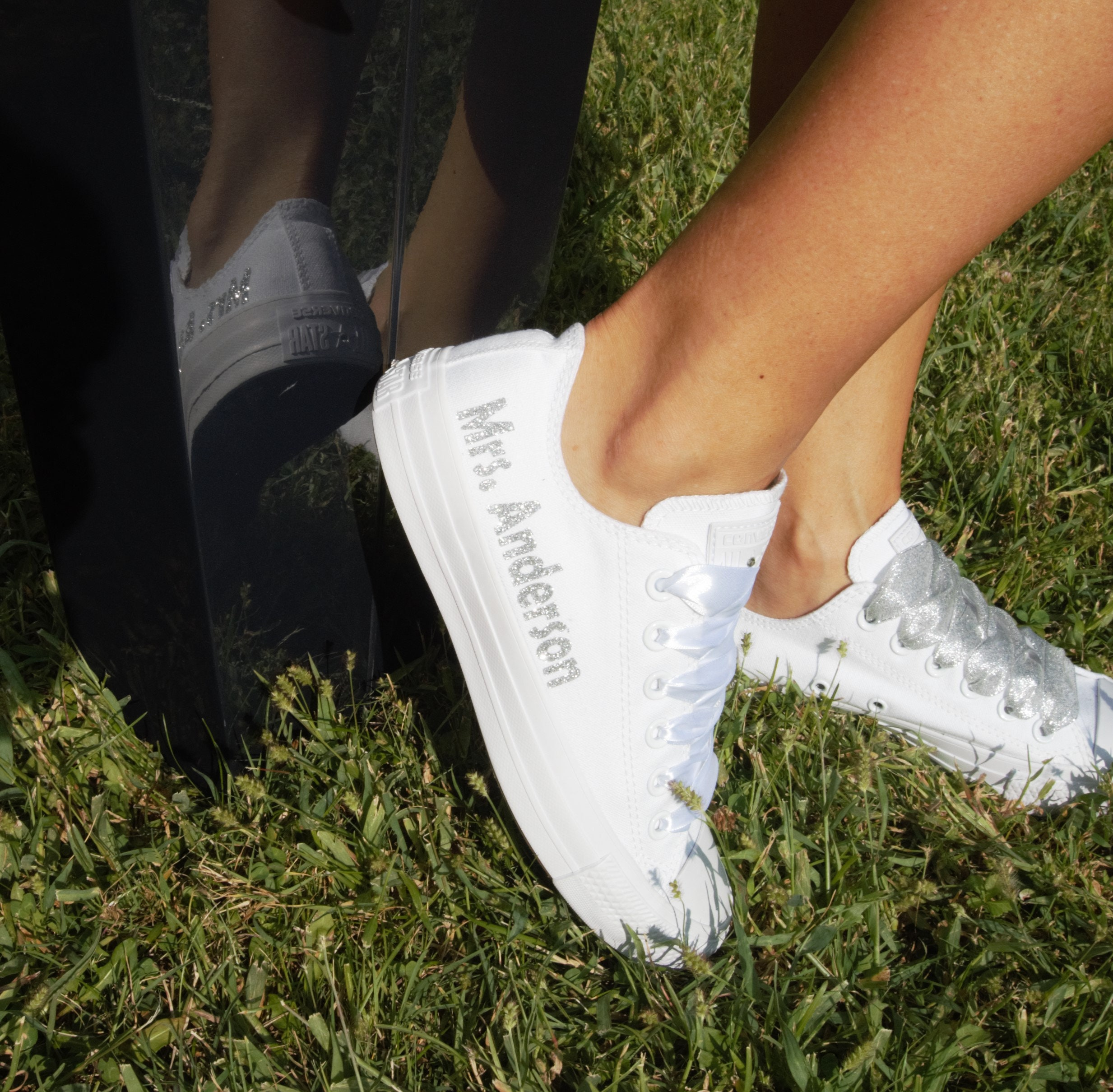 76f0479b69213 Personalized Wedding Converse sneakers, Personalised Bridal Trainers ...