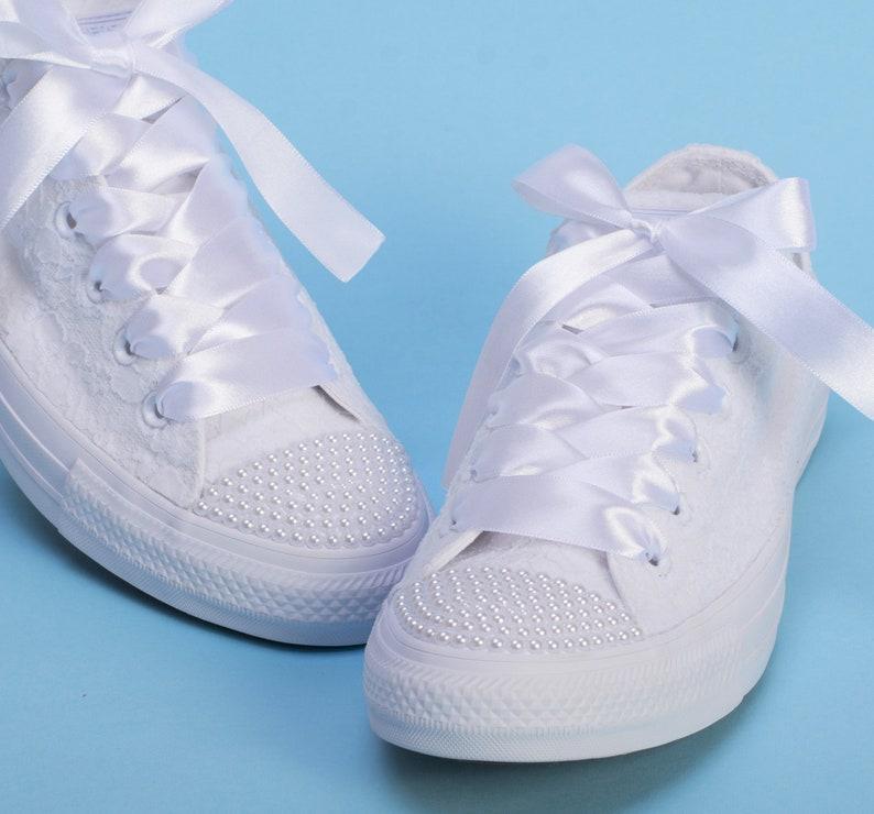 b1e600bcbbc1 Custom Bridal Converse for bride Lace Wedding Converse Lace