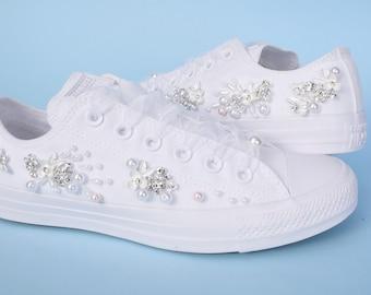 Hand Beaded Wedding Converse, Bling Converse Shoes For Bride, Bling Converse Shoes, Bride Chucks, Bridal Chucks, Wedding Chucks