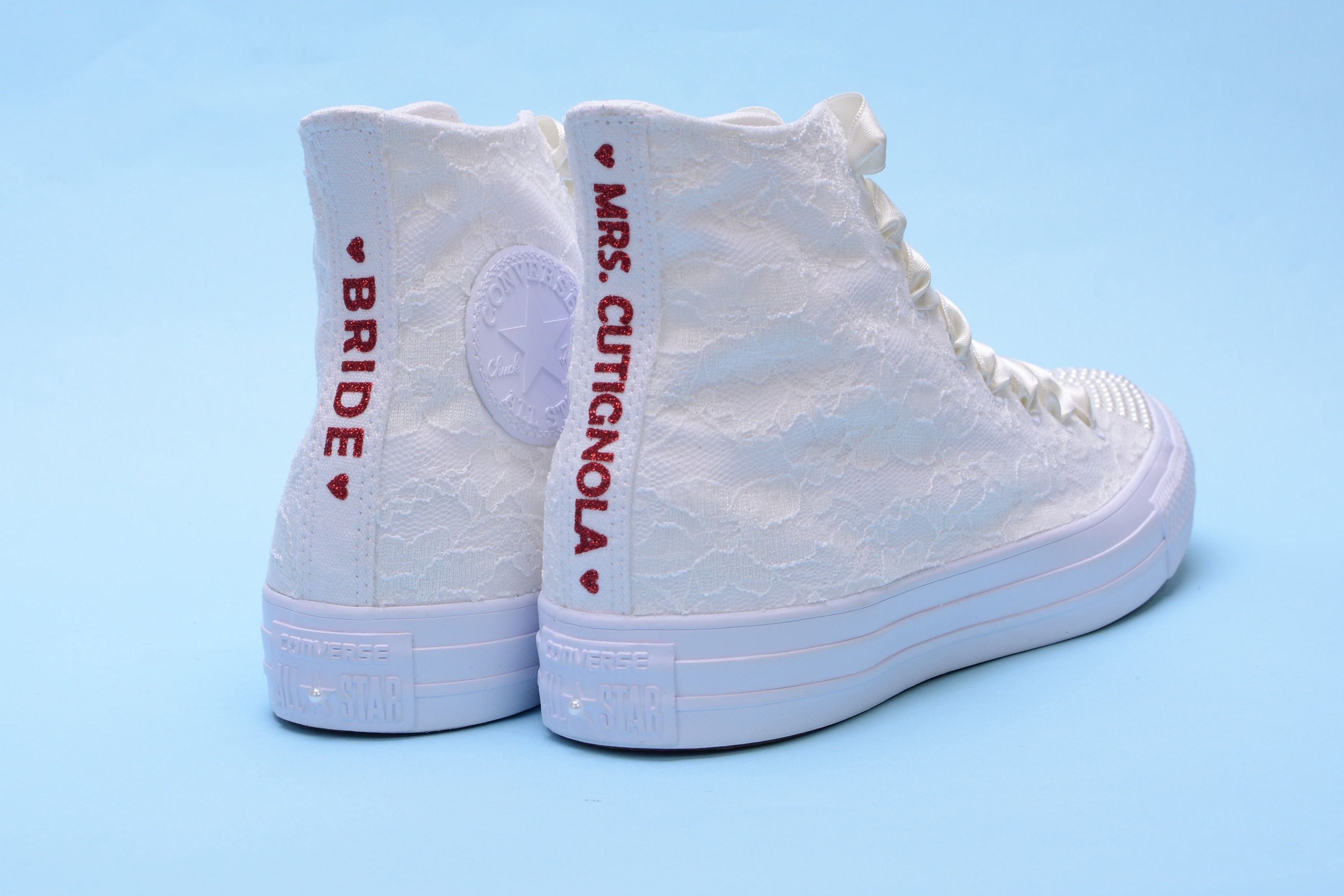 Personalized Ivory Wedding Converse High Top 6b3f16eb2