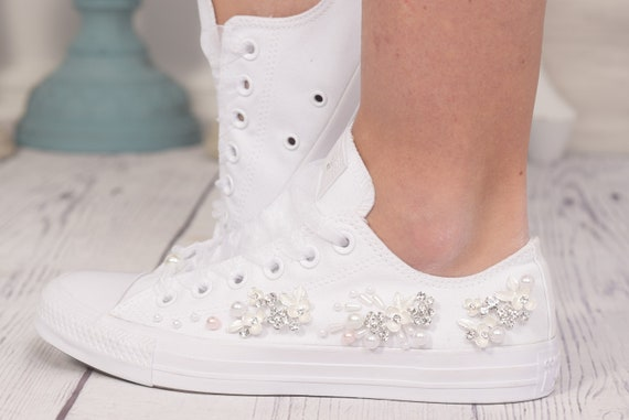 Custom Converse Trainers for Bride With Pearls and Rhinestones