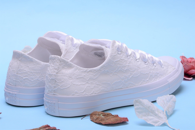 f5314c9929917 White Bride Converse Customized Converse, Wedding Converse low top ...