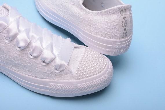 Custom Bridal Converse for bride, Lace Wedding Converse