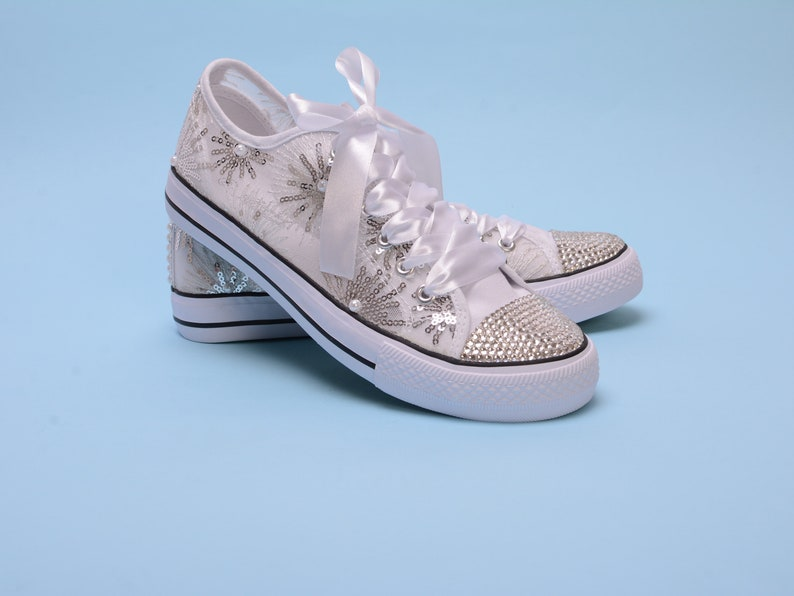 752b8d730281 Bling trainers for bride Crystal sneakers for bridesmaid with
