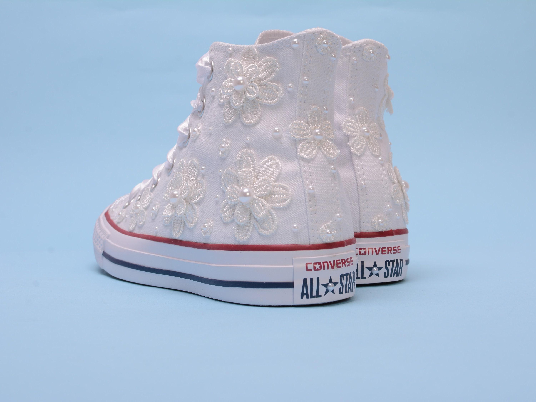 0bdc036f046e2 Pearl Converse, Custom Converse wedding shoes High top Converse ...