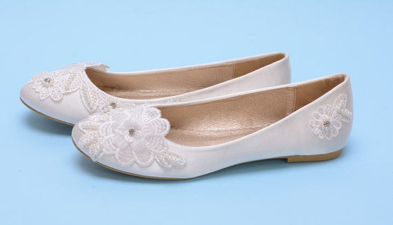 Lace wedding shoes for bride, Custom Wedding flats shoes