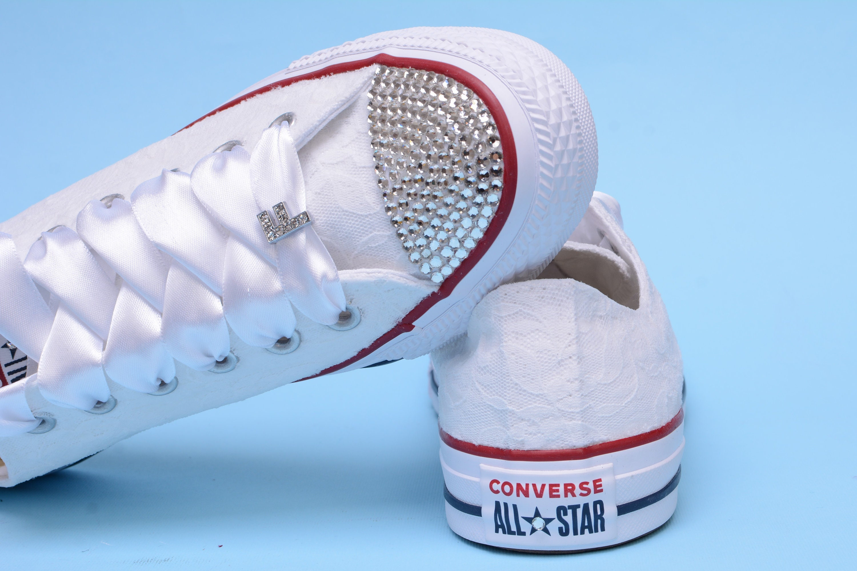 2157dc3f664fa Sneakers with crystals, White Lace Converse, Rhinestone Converse ...