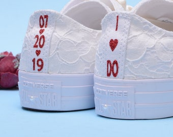 Personalized Ivory Wedding Converse For Bride, Personalised Custom Bridal Trainers, Monogrammed Low Top Chuck Taylor for Reception